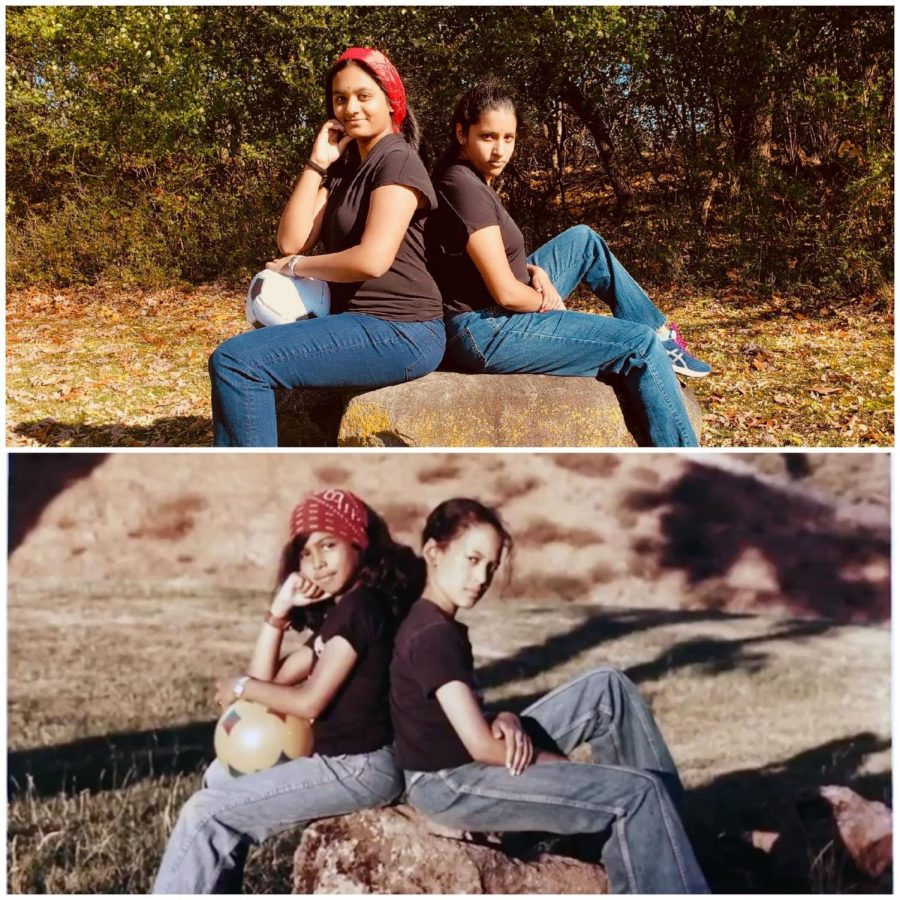 Satvika  with her sister Tejasvi, recreating a picture of  Kamala Harris and her sister Maya.