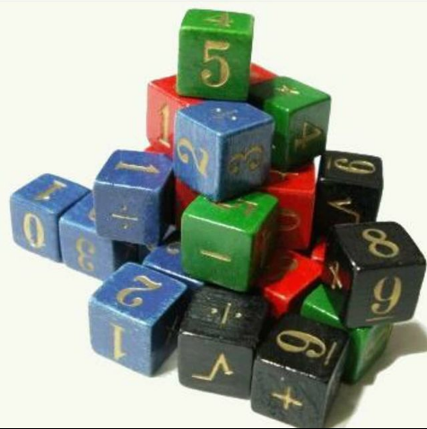 "Cubes used during one of the Academic Games --- ""Equations"""