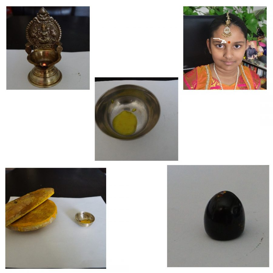The picture on the top left is a deepa. The picture on the top right is pointing at the kumkum. The photo in the middle is  the ghee it is clarified butter. The picture on the top bottom is the root of the chandan tree an top of a rock which we use to rub aganist each other to make the liquid in the tiny bowl. The at the bottom right is a shiva lingam.