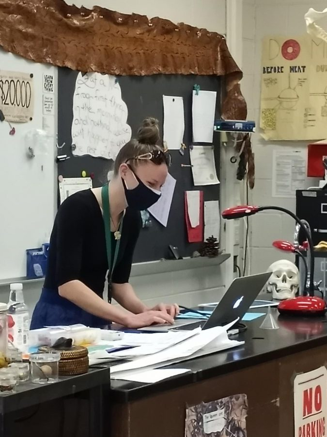 Getting logged into the Zoom on Thursday to start class is Ms. Kotlinski in her science room to see the remaining three quarters of the students online.